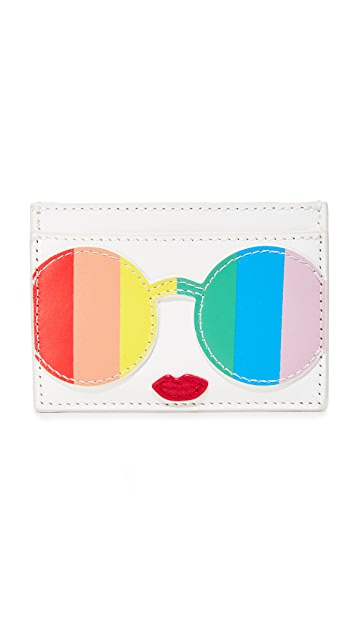 alice + olivia Rainbow Stacey Face Card Case