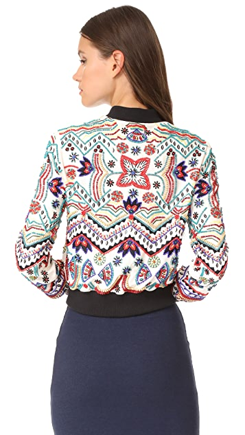 alice + olivia Lonnie Embroidered Cropped Bomber Jacket