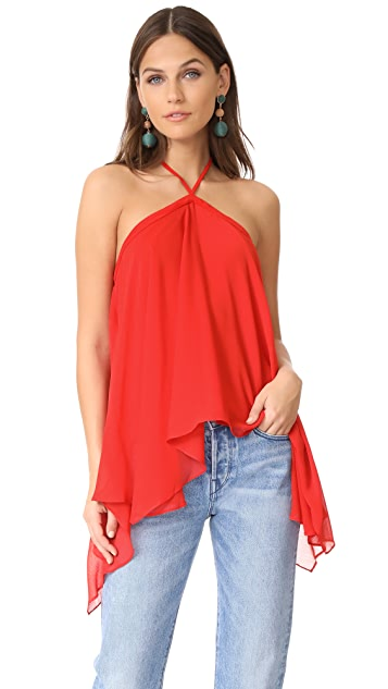 alice + olivia Tish Tie Neck Handkerchief Top