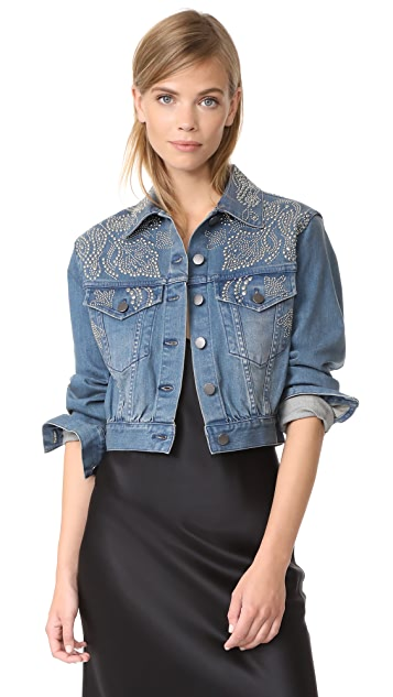 alice + olivia Chloe Studded Denim Jacket