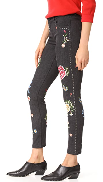 alice + olivia Jane Embroidered Skinny Jeans