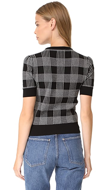 alice + olivia Brady Plaid Short Sleeve Sweater