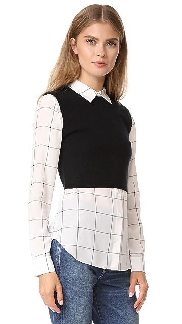 alice + olivia Lucinda Sweater Vest Combo Shirt