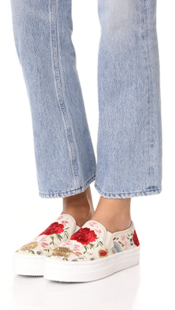 alice + olivia Sasha Floral Embroidered Slip On Sneakers