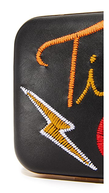 alice + olivia Shirley Embroidered Large Clutch