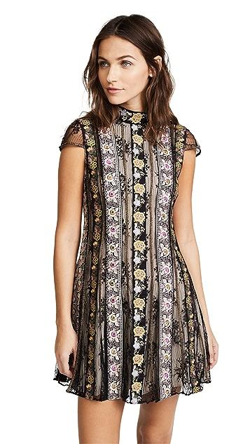 alice + olivia Gwyneth Embroidered High Neck Short Sleeve Flare Dress