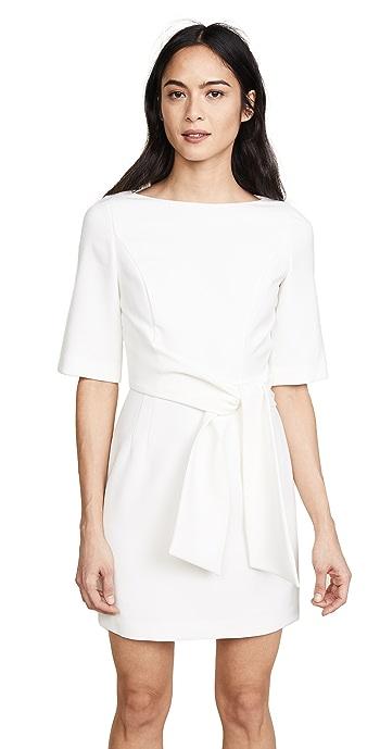 alice + olivia Virgil Boat Neck Wrap Dress - Off White