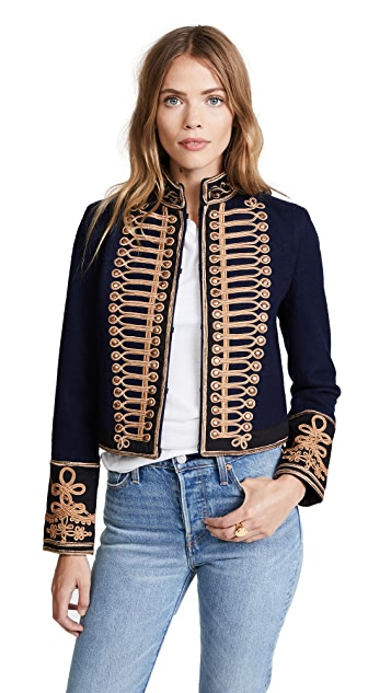 alice + olivia Phoenix Embroidered Military Jacket