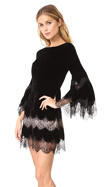 alice + olivia Leann Bell Sleeve Velvet Tunic Dress
