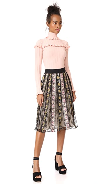 alice + olivia Birdie Embroidered Skirt