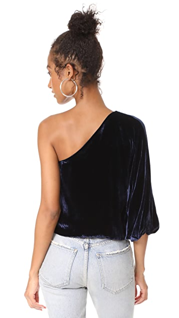alice + olivia Craven One Shoulder Velvet Top