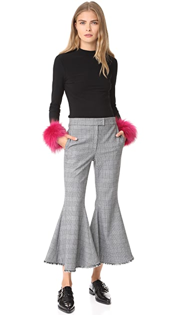 alice + olivia Haylen Top with Fur Cuffs