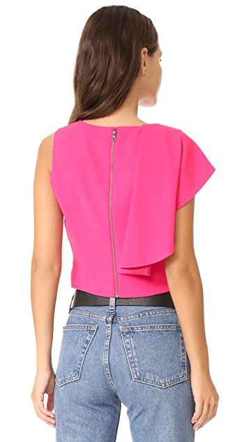 alice + olivia Marin Side Ruffle Crop Top