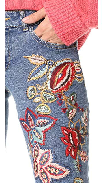 alice + olivia Ryley Embroidered Low Rise Bell Jeans