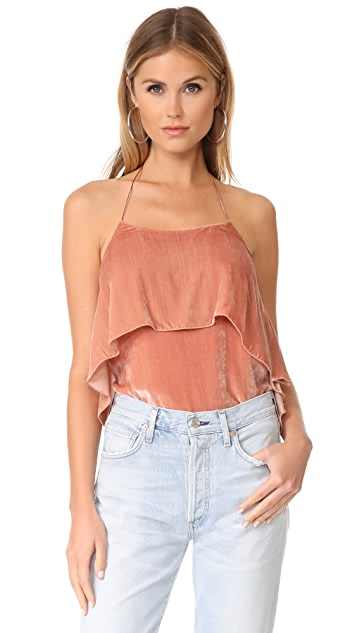 alice + olivia Marybeth Tie Neck Ruffle Velvet Top