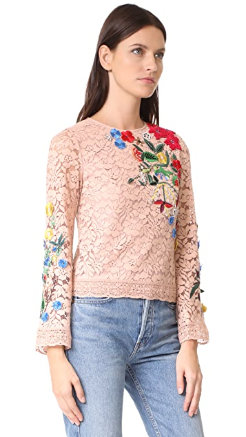 alice + olivia Pasha Embroidered Bell Sleeve Top