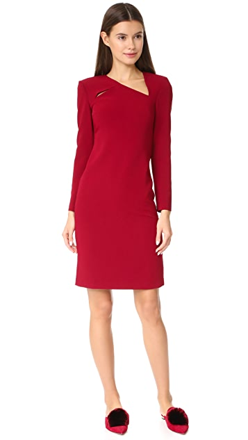 alice + olivia Scottie Strong Shoulder Fitted Dress