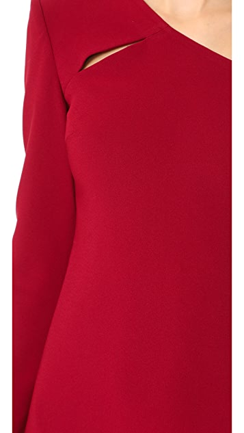 alice + olivia Scottie Strong Shoulder Fitted Dress