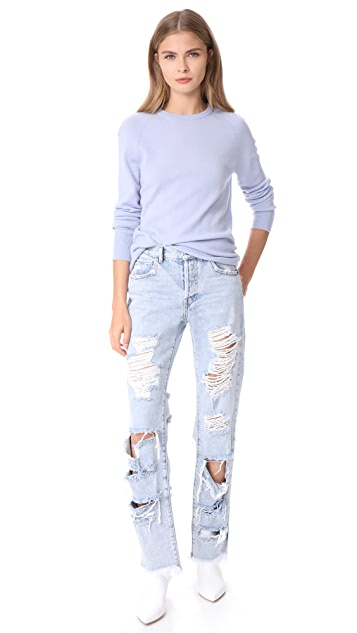 alice + olivia Genevive Extreme Distressed Jeans
