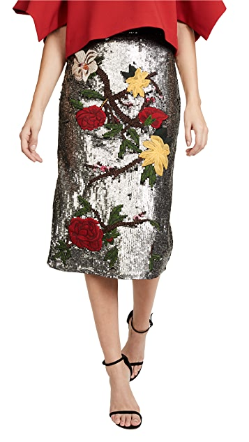 alice + olivia Ella Embellished Sequin Midi Skirt