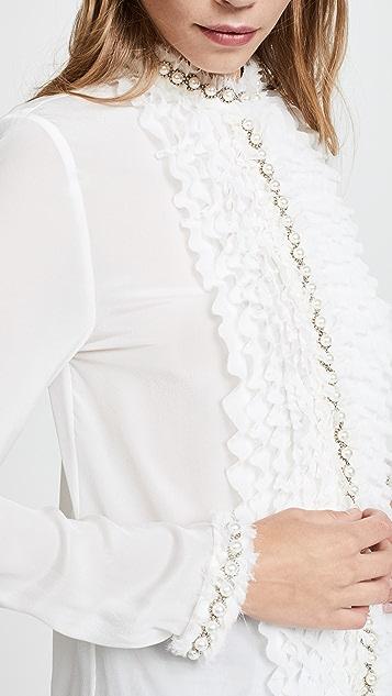 alice + olivia Arminda Ruffle Imitation Pearl Blouse