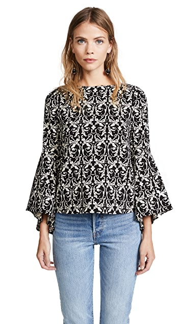 alice + olivia Baska Trumpet Sleeve Blouse