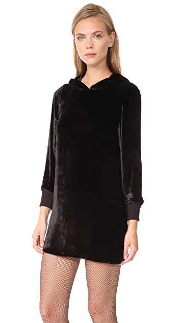 alice + olivia Barron Hooded Velvet Dress
