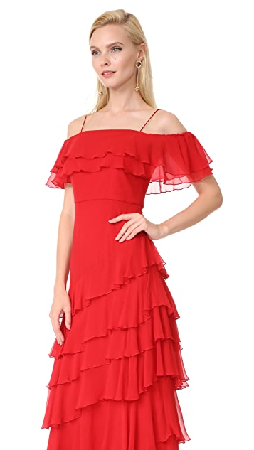 alice + olivia Eloisa Off Shoulder Ruffle Gown