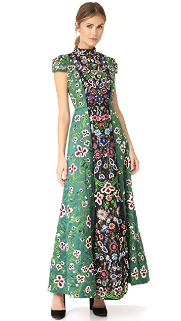 alice + olivia Nidia Embellished Mock Neck Gown