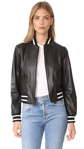 alice + olivia Demia Leather Bomber Jacket