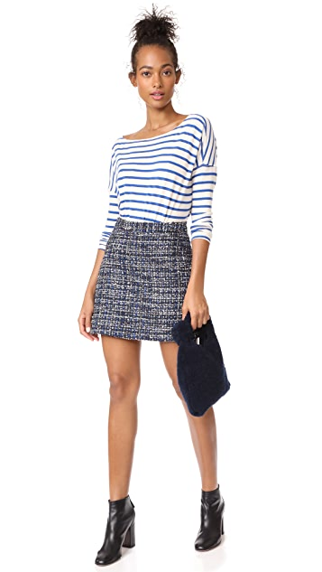 alice + olivia Riley A-Line Tweed Skirt