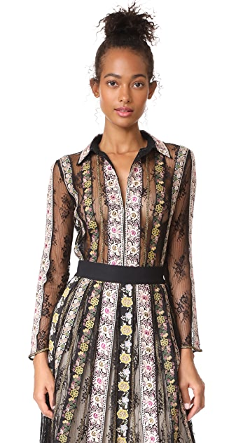 alice + olivia Dalia Embroidered Fitted Blouse