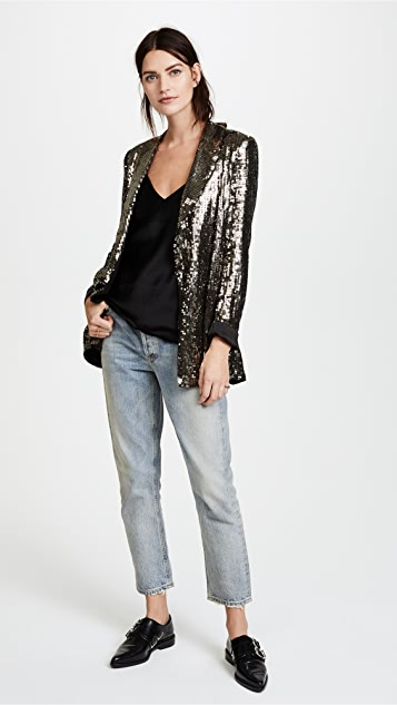 alice + olivia Jace Sequin Shawl Collar Oversized Blazer
