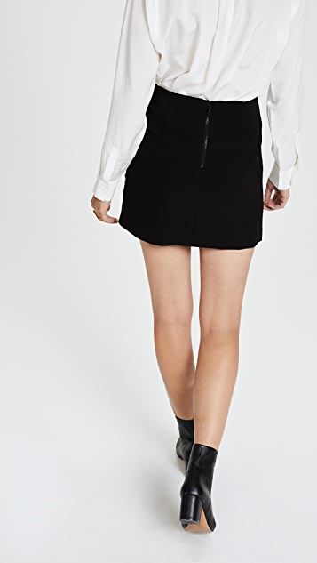 alice + olivia Dora Asymmetrical Leather Combo Miniskirt