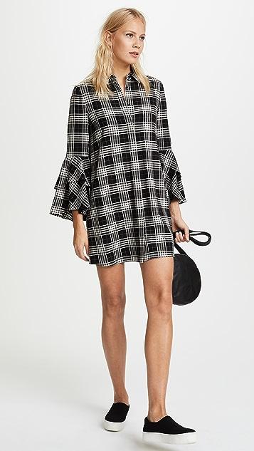 alice + olivia Jem Double Trumpet Sleeve Shirt Dress