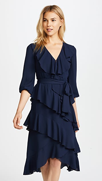 alice + olivia Kye V Neck Ruffle Dress