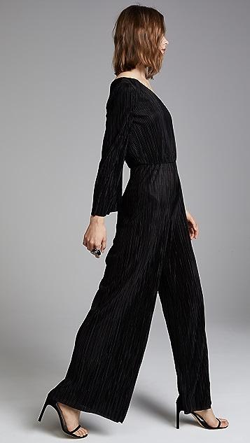 alice + olivia Keiko Pleated One Shoulder Jumpsuit