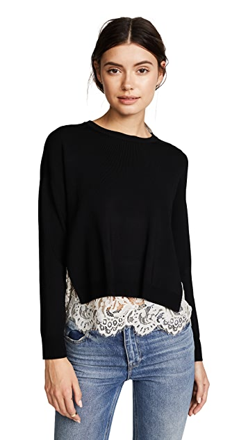 alice + olivia Iva Long Sleeve Lace Detail Sweater