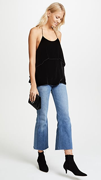 alice + olivia Layered Ruffle Velvet Blouse