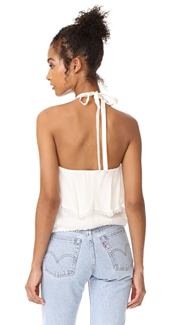 alice + olivia Monet Ruffled Halter Top