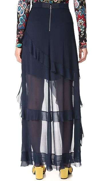 alice + olivia Lavera Asymmetrical Ruffle Skirt