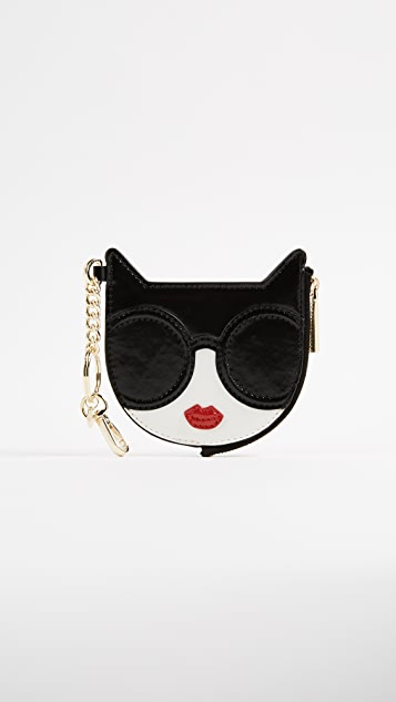 alice + olivia Stace Face Cat Zip Pouch Keychain