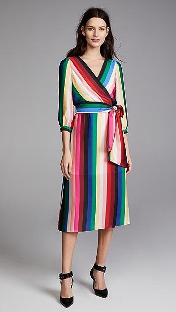Clothing Rainbow/Stripe alice olivia Dyanna Midi Dress ZVSKNH