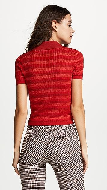 alice + olivia Martha Ruffle Polo Shirt