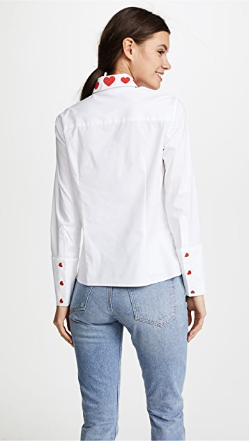 alice + olivia Darwin Embroidered Cropped Button Down Shirt