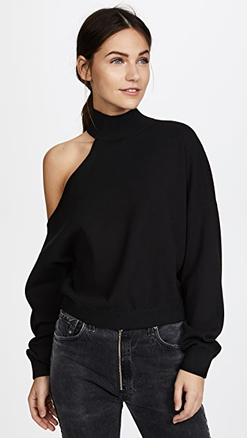 alice + olivia Finnigan One Shoulder Slouchy Pullover