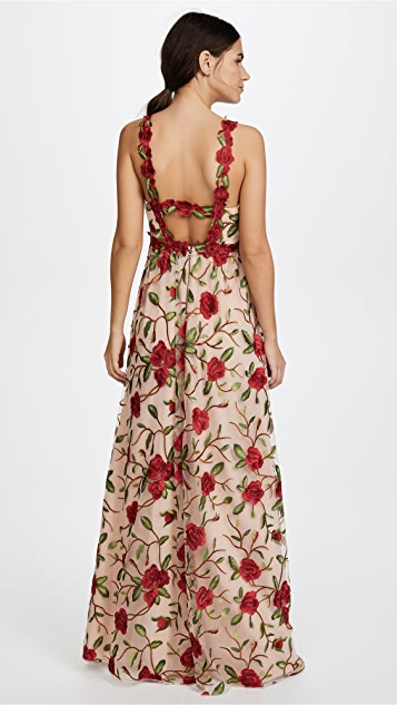 alice + olivia Beck Low Back Gown With Train
