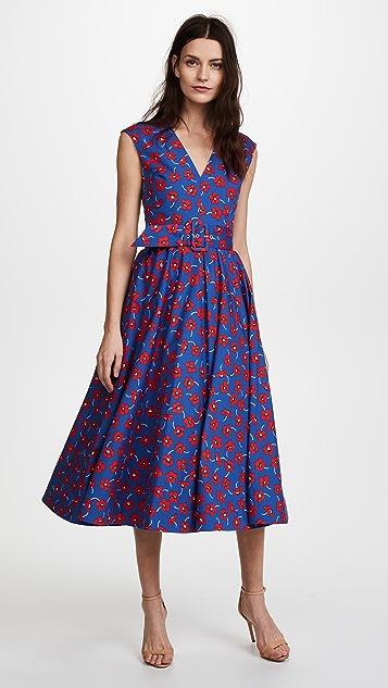 alice + olivia Dot Drop Shoulder Midi Dress