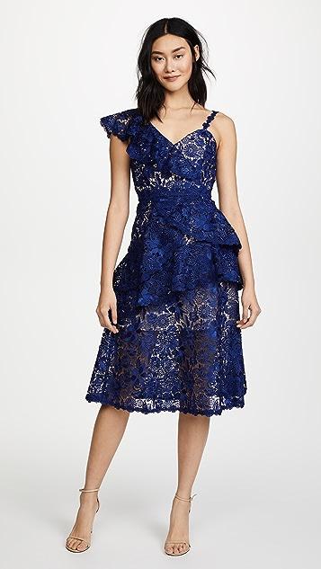 alice + olivia Florrie Ruffle Midi Dress - Indigo/Beige