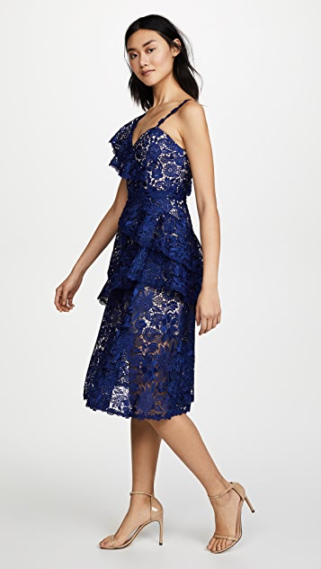 alice + olivia Florrie Ruffle Midi Dress